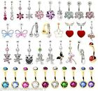 New Surgical Steel Belly Bar / Navel Ring - 10mm Choose Colour & Design