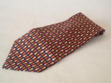 Cravate 100% soie-la collection-bleu, orange et jaune motif