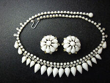 Vintage Milk Glass Tear Drop Signed KRAMER of New York Necklace Earrings Set