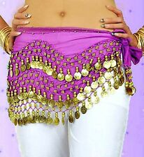 Lot 3 Rows Belly Dance dancing Hip Skirt Scarf Wrap Belt Hipscarf Gold Silver