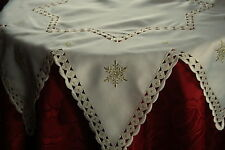 SNOWSTAR CREAM/ GOLD EMBROIDED POLYESTER STARSHAPE SMALL CHRISTMAS TABLE CLOTH