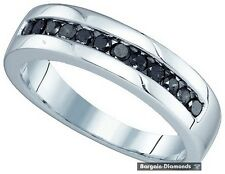 mens black diamond .50 carat wedding ring band 10K gold dress anniversary mens