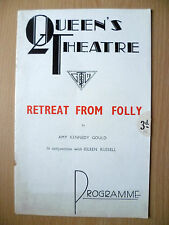 QUEEN'S THEATRE PROGRAMME 1937- RETREAT FROM FOLLY by Amy Kennedy Gould
