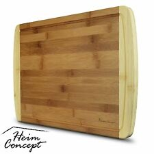 HEIM Large Cutting Board Organic Bamboo wood Chopping Butcher Block drip Grooves