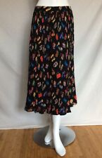 Women's COLDWATER Creek Long Black Shose &Purses Print Crinkle Boho Skirt Sz PM