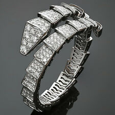 Fabulous BULGARI Serpenti Pave Diamond 18k White Gold Bracelet, Box Papres