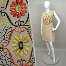 Vintage Embroidered Floral Tapestry Empire Mini Cocktail Dress 60s Scooter Tunic