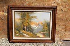 """Vintage Oil Painting on Canvas """"Bare Top Mountain"""" Solid Wood Frame,Signed"""