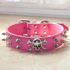 Spiked Studded Skull Leather Pet Dog Collars for Medium Large Breed Pitbull