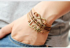 Jesus BRACELET Love Infinity Multi Band Charm Leather Adjustable Christian