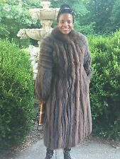 Mint Designer SAGA Full Length Black Brown Fox Fur Coat Jacket Stroller M 6-12