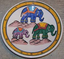 "Yellow Border Three Elephant Pattern 7"" Handpainted Turkish Ceramic Plate"