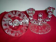 Paden City Crystal Gazebo Nine ball Double Candleholders -  PAIR - MINT - NICE
