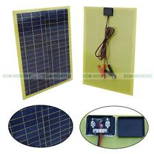 20W Watt 12V Epoxy Solar Panel Module W/ Cable & 1 Pair 30A Battery Clip Camping