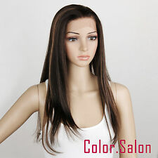 HAND TIED Synthetic LACE FRONT FULL WIGS GLUELESS Dark Brown/Blonde Mix 96#4F27