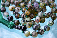 Dragon Vein Agate & Black Onyx Nirvana 108 Prayer Beads Hand Knotted Mala Beads