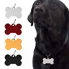 Blanc Médaille gravee chien Chat Animaux Os Collier Harnais Nickel pour chiens