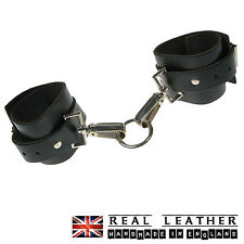Black Wrap Round Fetish Handcuff 100% Real Leather Made In England
