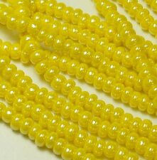 Yellow Opaque Luster Czech 6/0 Seed Bead on Loose Strung 6 String Hank