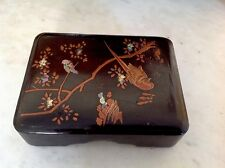 VINTAGE ANTIQUE CHINESE INLAID BLACK LACQUER JEWELLERY BOX -ABALONE INLAY BIRDS
