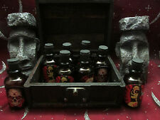 8 SPELL POTION GLASS VIALS BOTTLES JAR AMBER REAL WOOD CHEST BOX  FREE GIFTS