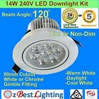 14W 240V 120° Dimmable LED Downlight Kit with - Warm, Daylight or Cool White