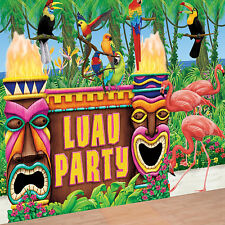 Hawaiian LUAU TROPICAL TIKI Bar wall decorating scene backdrop Party Decoration