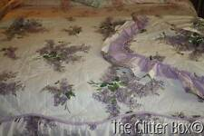 Shabby Cottage Chic Full Bedspread Attached Bed Skirt Lavender Lilacs Shams