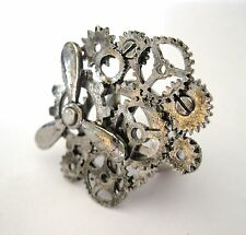 Metal Steampunk Gears Ring Silver Colored Adult Halloween Costume Accessory
