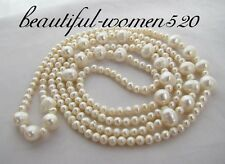 """Unusual 50"""" 10mm white rice freshwater pearl necklace z995"""