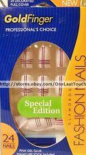 KISS Goldfinger Fashion 24 Glue-on Nails LAVENDER w/PURPLE+WHITE Stripes #SGF06