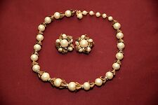 VINTAGE DEMARIO Baroque Pearl Rhinestone NeckLace and Earring Set 19""