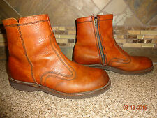 "Mens Sz 7 Vintage Brown Leather Low Zip-up Boots Fur Lined 11 1/8"" Total Length"
