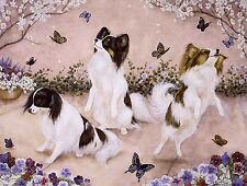 PAPILLON DOGS Dancing  on One 18 x 22 Fabric Panel - Quilting & Sewing