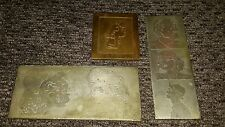 Vtg METAL copper Printing STAMP PRESS Plate Rare comic people Signed Dated