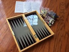 3 in 1 CHESS BACKGAMMON CHECKERS solid wood magnetic travel set game w/pamphlet