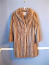 CLASSIC! MINK fur 3/4 length stroller coat jacket tan beige MEDIUM coat