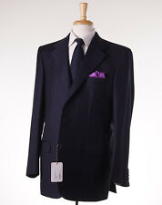 NWT $6400 BRIONI Solid Navy Blue Super 150s Wool Suit 44 L Classic-Fit
