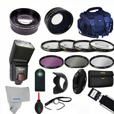 Professional Flash / Lens / Accessory Kit for Canon EOS Rebel XT XSI T2I 60D T5I