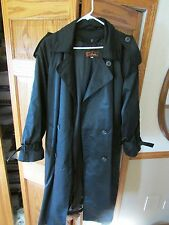 WORTHINGTON BLACK LONG TRENCH COAT REMOVABLE LINING WOMENS 14 MINT CONDITION!