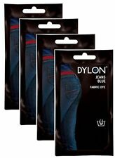 4x Dylon Jeans Blue Fabric and Clothes Hand Dye 50g - FREE P&P