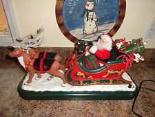 "ANIMATED SANTA AND 2 REINDEER MOTIONETTE  24 "" HOLIDAY CREATIONS MUSIC"