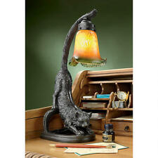 1930's Antique Replica Feline Cat Stretch Glass Shade Whimsical Kitty Desk Lamp