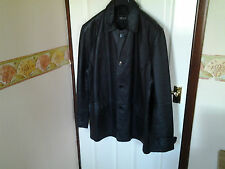 Means Milan Black Real Leather Jacket Size Large (Hip Length)