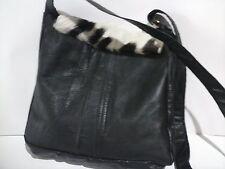 Fashion Messenger shoulder bag black real leather hand made £55.00