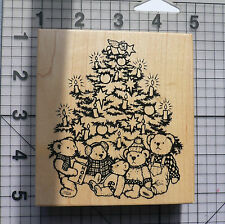 PSX Personal Stamp Exchange Wood Mounted Rubber Stamp Teddy Bear Christmas Tree