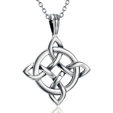 "Celtic Knot Charms Pendant Witches Wicca Pagan Necklace18"" 925 Sterling Silver"