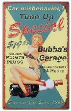 Bubba's Garage Tune Pin Up Special TIN SIGN vtg metal spark plug wall decor OHW