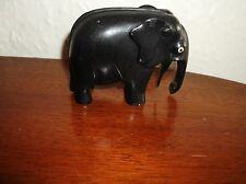 "GOOD OLD VINTAGE SOLID EBONY WOODEN CARVED ELEPHANT UNUSUAL SHAPE 2.5"" 502"