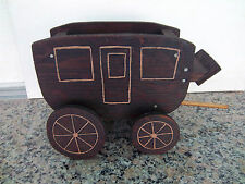 Handcrafted Vintage Wooden Stagecoach Hand Painted Wood Wheels Doors Planter